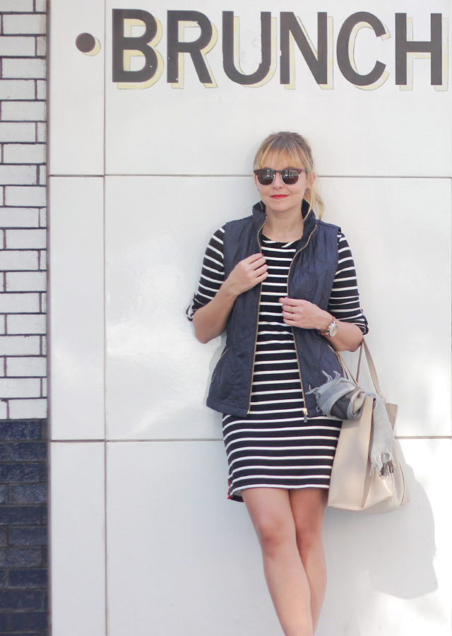 The Steele Maiden: Weekend Style - stripe knit dress, quilted vest and white sneakers