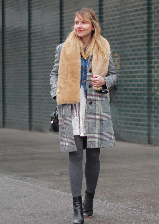 The Steele Maiden: Holiday outerwear - faux fur scarf and plaid coat