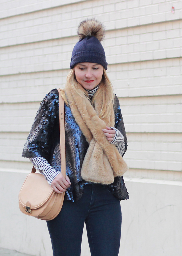 Holiday layering in sequin top, striped turtleneck and faux fur stole