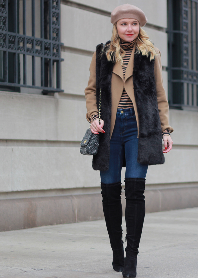 The Steele Maiden: Winter Outerwear - faux fur vest, beret and over the knee boots