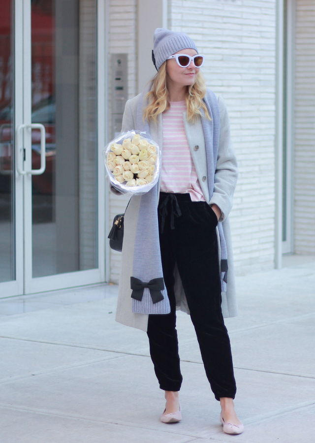 The Steele Maiden: Casual Winter Style - Kate Spade Bow Scarf and Velvet Joggers