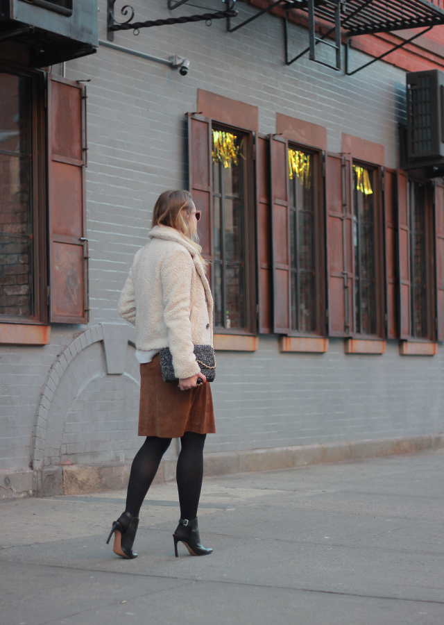 The Steele Maiden: Winter Neutrals - Suede Skirt and Teddy Coat