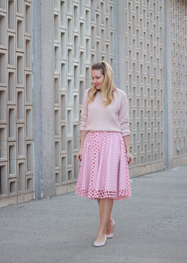 a s day look in monochrome pink midi skirt and