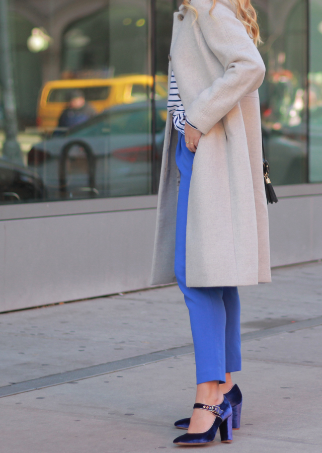 The Steele Maiden: Winter Blues - Blue Trousers, Velvet Heels and Striped Tee
