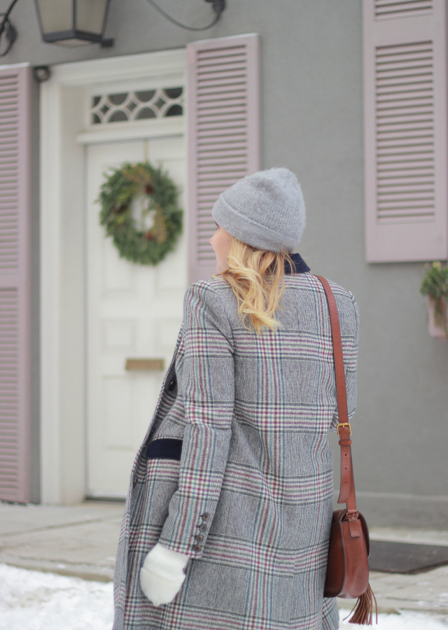 The Steele Maiden: Winter Layers in Plaid Coat, White Midi Skirt and pink sweater