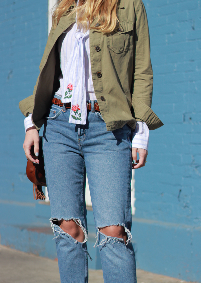 The Steele Maiden: Anthropologie Floral Embroidered Blouse, Utility Shirt and Boyfriend Jeans