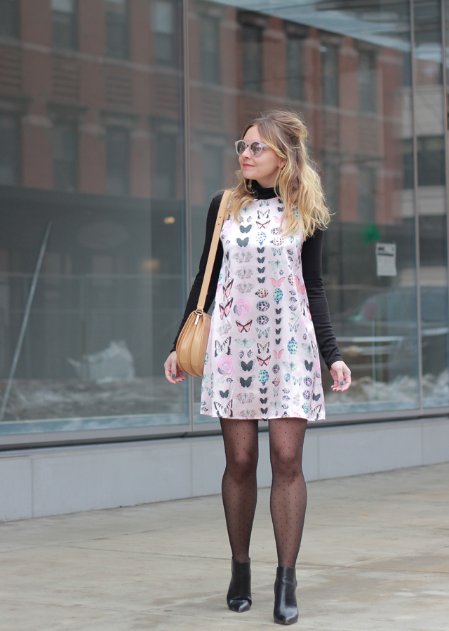 The Steele Maiden: NYFW Mod style with Bardot hair and butterfly printed silk shift dress