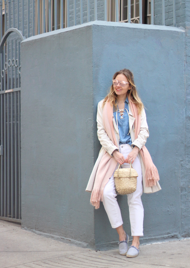 The Steele Maiden: Spring Pastels - Trench Coat, Pink Scarf and Fringe Espadrilles