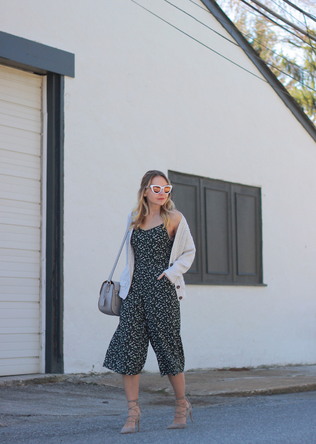 The Steele Maiden: Spring transitional style - Old Navy Floral Jumpsuit and Lace-Up Heels