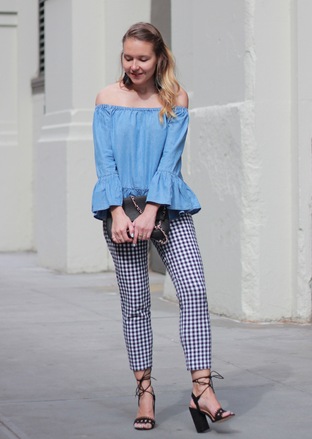 The Steele Maiden: Chambray Off the Shoulder Top and Gingham Pants