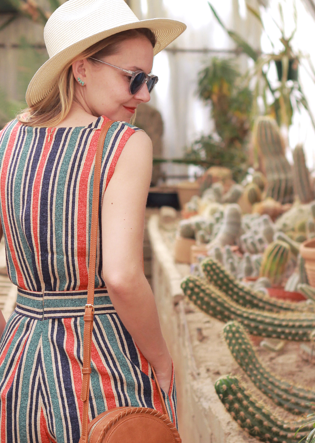 The Steele Maiden: Festival Style in Anthropologie Striped Romper, Straw Hat and Round Crossbody Bag
