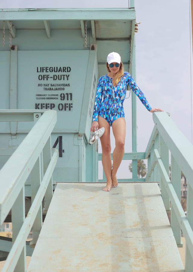 The Steele Maiden: Santa Monica Beach Surf Style with Lands' End One Piece Rash Guard