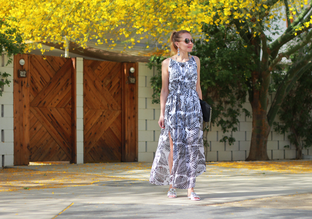 The Steele Maiden: Ace Hotel Palm Springs in Palm Print Maxi Dress and Bauble Bar Crispin Earrings