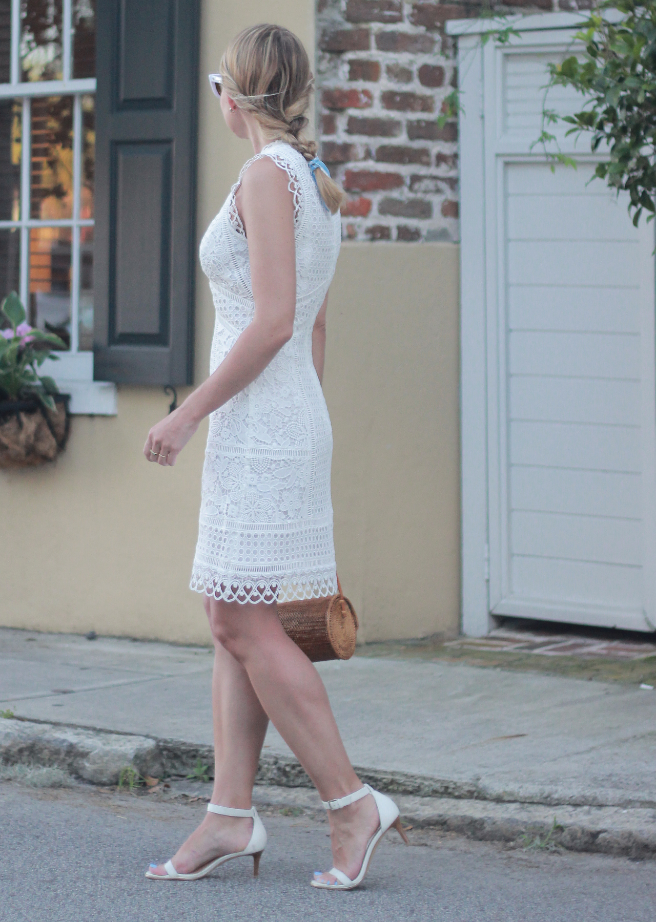 The Steele Maiden: Summer style in Charleston - Little White Lace Dress and White Accessories