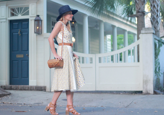 The Steele Maiden: Floral eyelet midi dress and navy wide brim straw hat