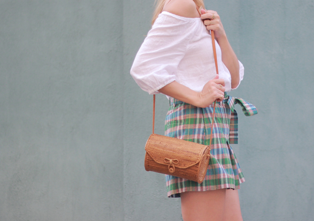 The Steele Maiden: Summer style in Charleston - plaid shorts and linen off the shoulder top