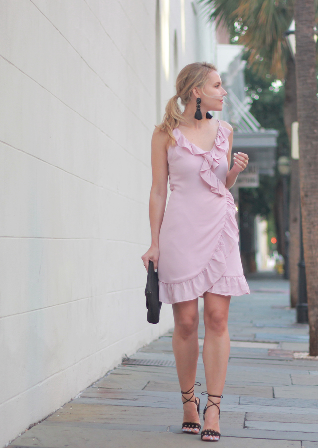 The Steele Maiden: Date Night - Pink Ruffle Wrap Dress and Tassel Earrings