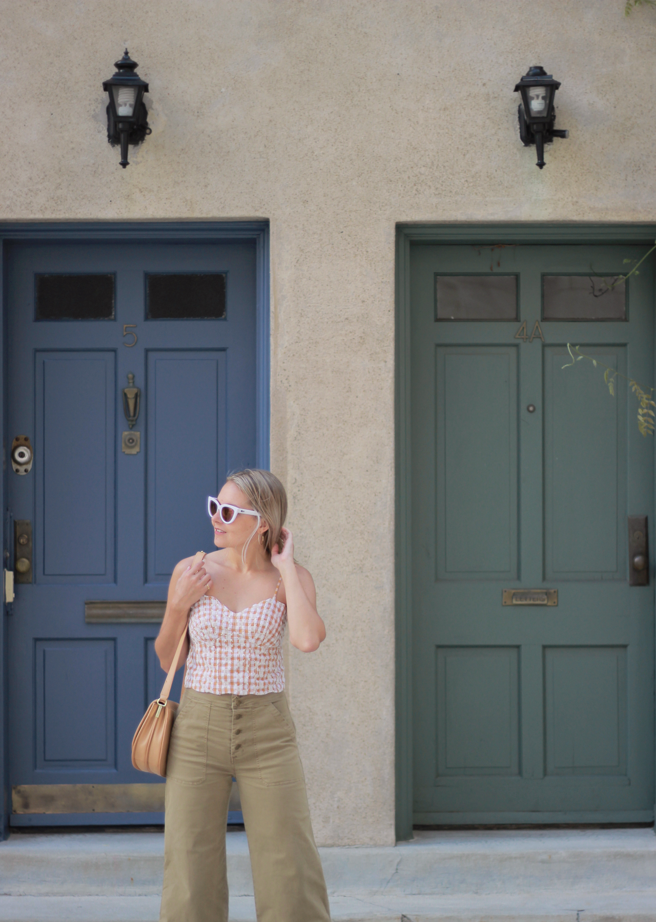 The Steele Maiden: Anthropologie Gingham Crop Top and Wide Leg Chinos
