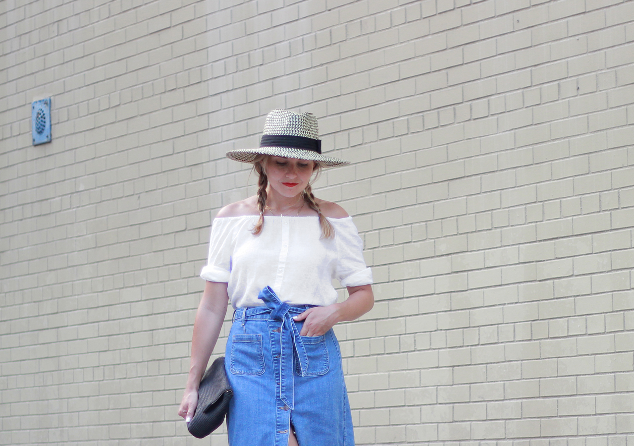 The Steele Maiden: Classic Summer Style - Denim Midi Skirt and Linen Off the Shoulder Top