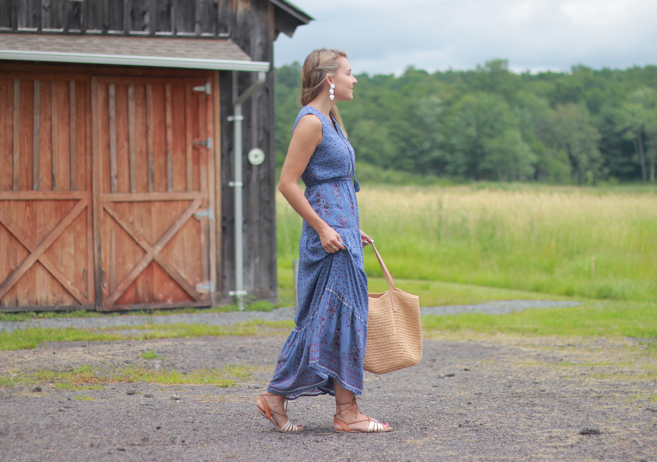 The Steele Maiden: Summer in the Country - Old Navy Floral Maxi Dress and Lace-Up Sandals