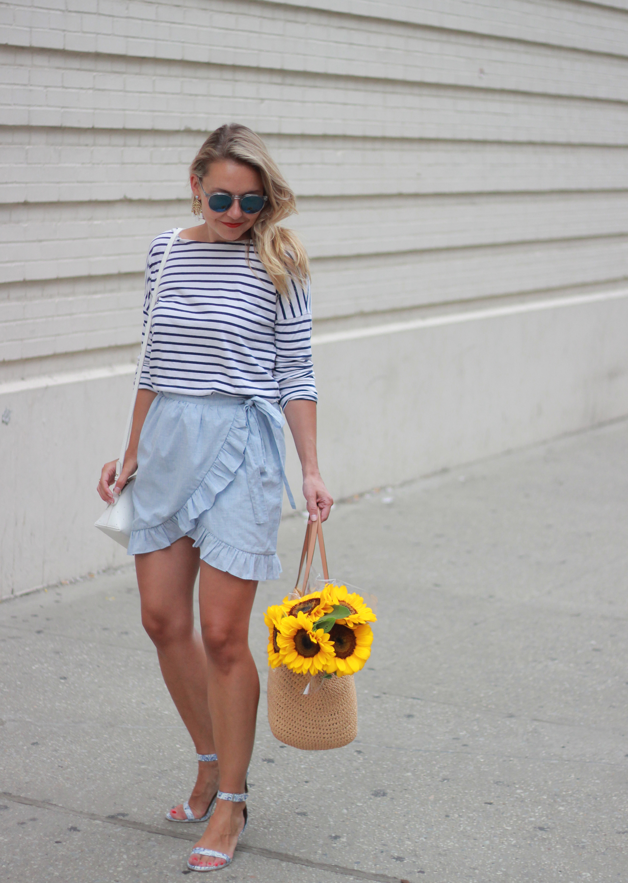 The Steele Maiden: Simple Summer Style in Madewell Wrap Skirt and Straw Bag