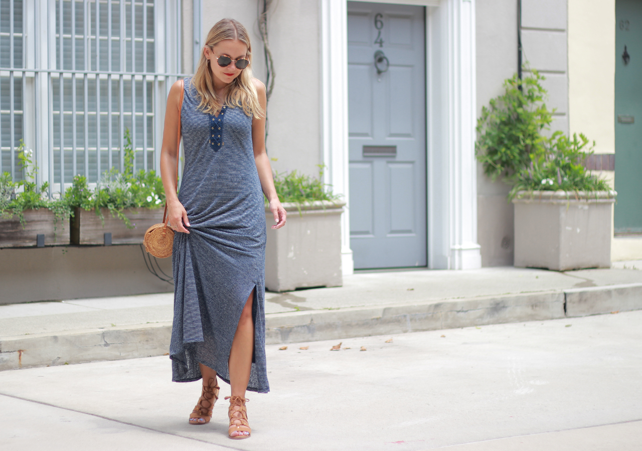 The Steele Maiden: Striped Lace-Up Maxi Dress