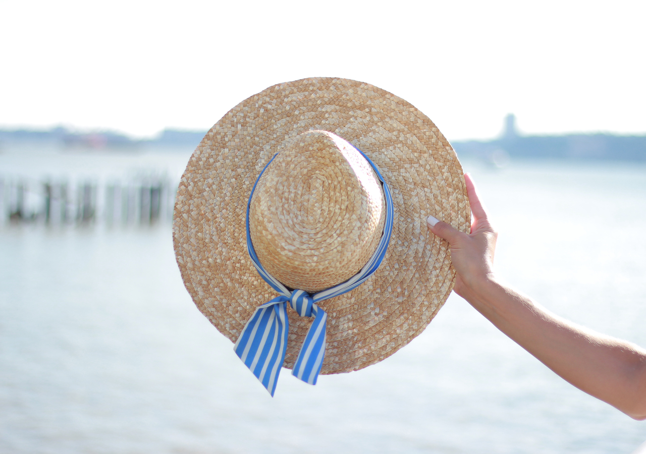 The Steele Maiden: Casual Summer Style - Straw Hat and Striped Silk Scarf