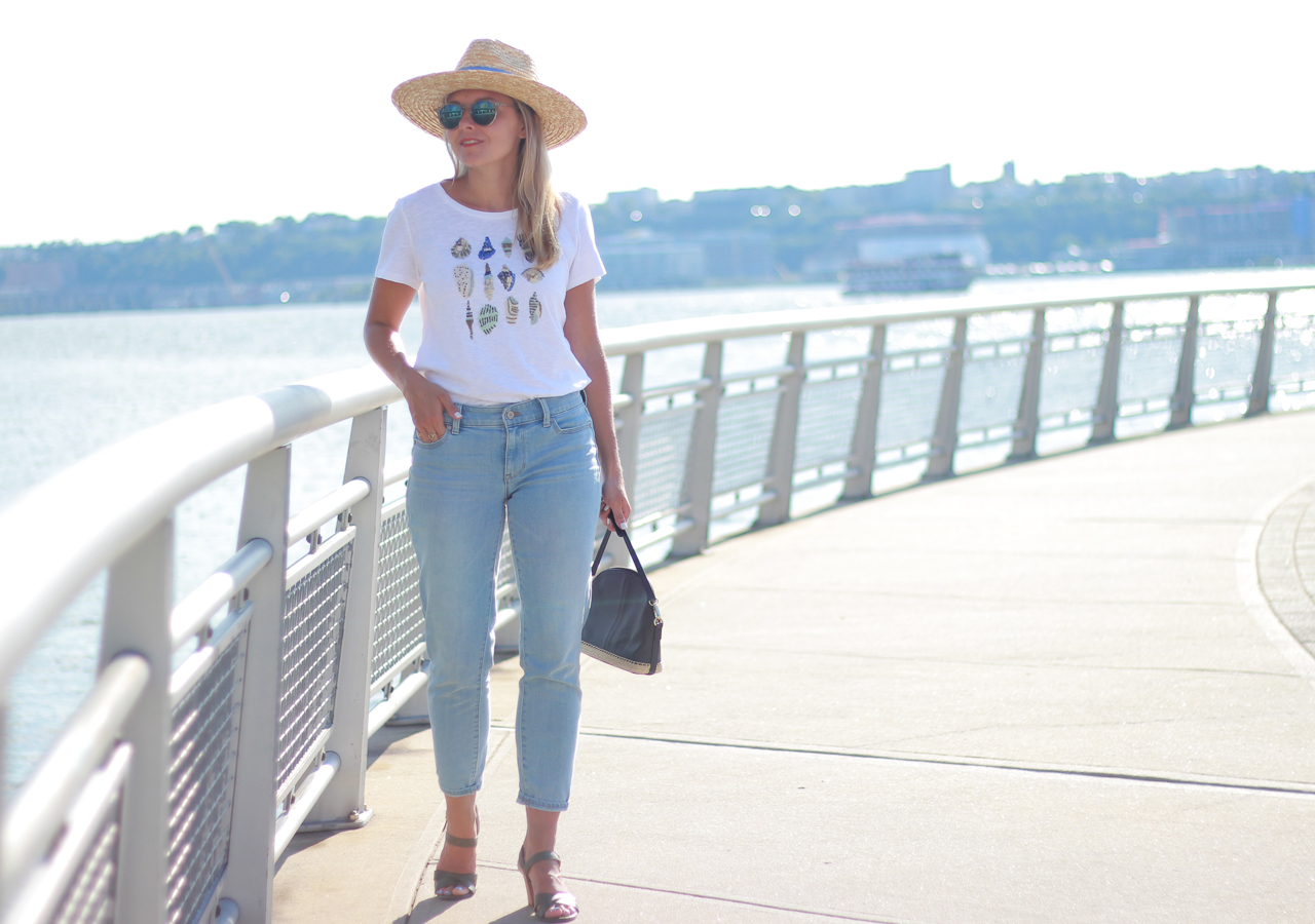 The Steele Maiden: Casual Summer Style - Talbots Seashell T-shirt and boyfriend jeans