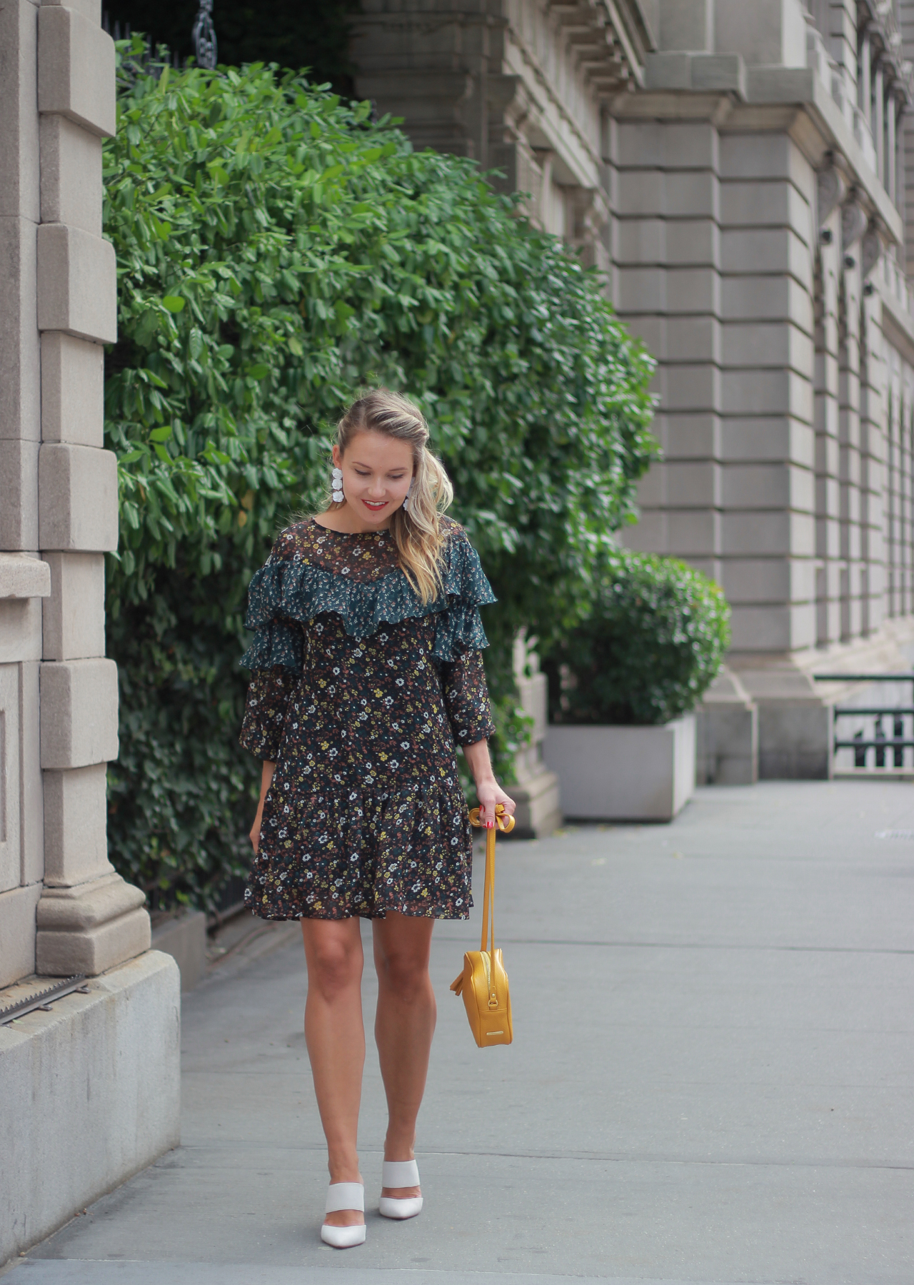 The Steele Maiden: Fall Florals - Ruffle Dress and White Heels
