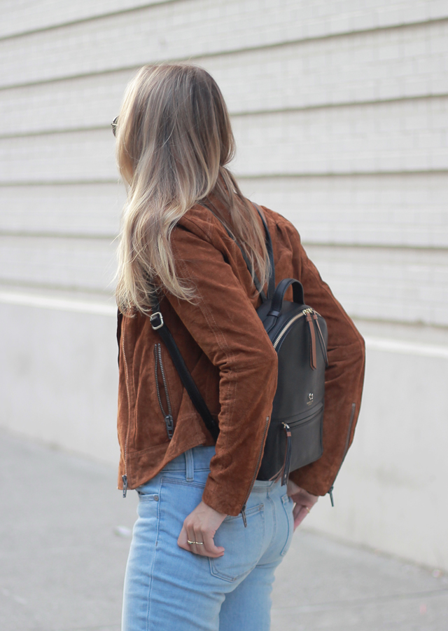 The Steele Maiden: Fall Wardrobe Staples - Suede Moto Jacket and Leather Backpack