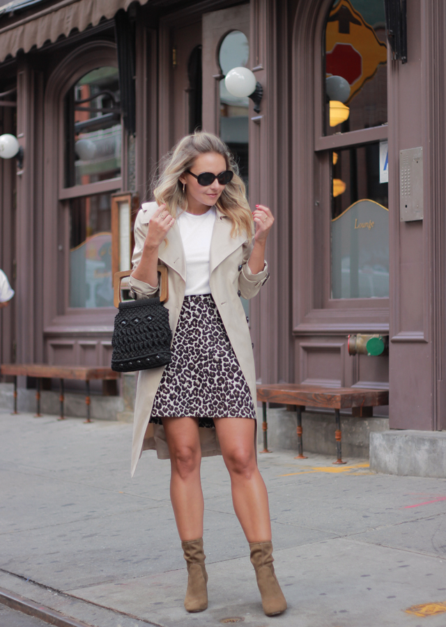 Nyfw Street Style Leopard Mini Skirt Sock Boots Trench Coat And