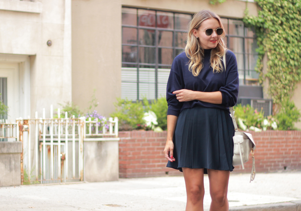 The Steele Maiden: Navy Monochrome - Pleated Mini Skirt and Patent Loafers
