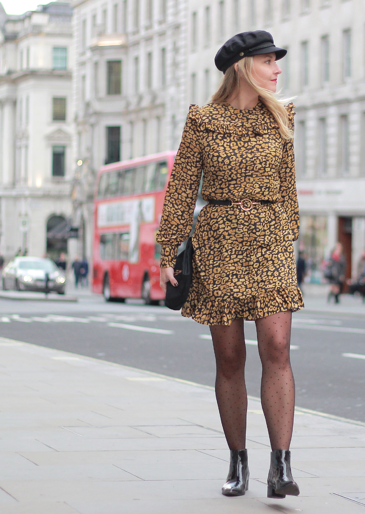 The Steele Maiden: London Night Out Style - Leopard Ruffle Dress, Fisherman's Cap and Patent Booties