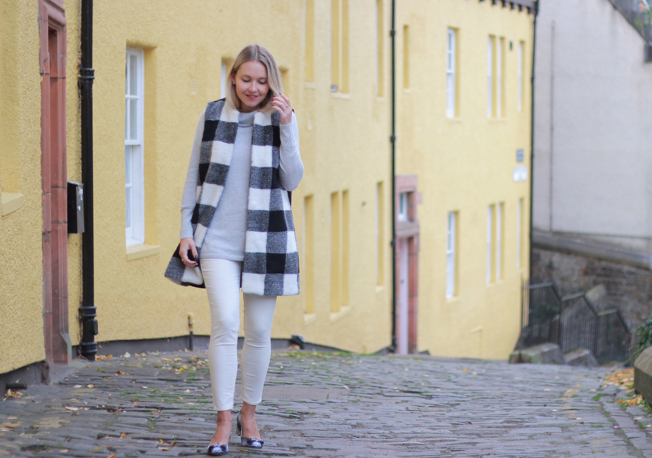 The Steele Maiden: Luxe Textures for Fall - Velvet Jeggings, Cashmere Sweater and Faux Fur Plaid Vest