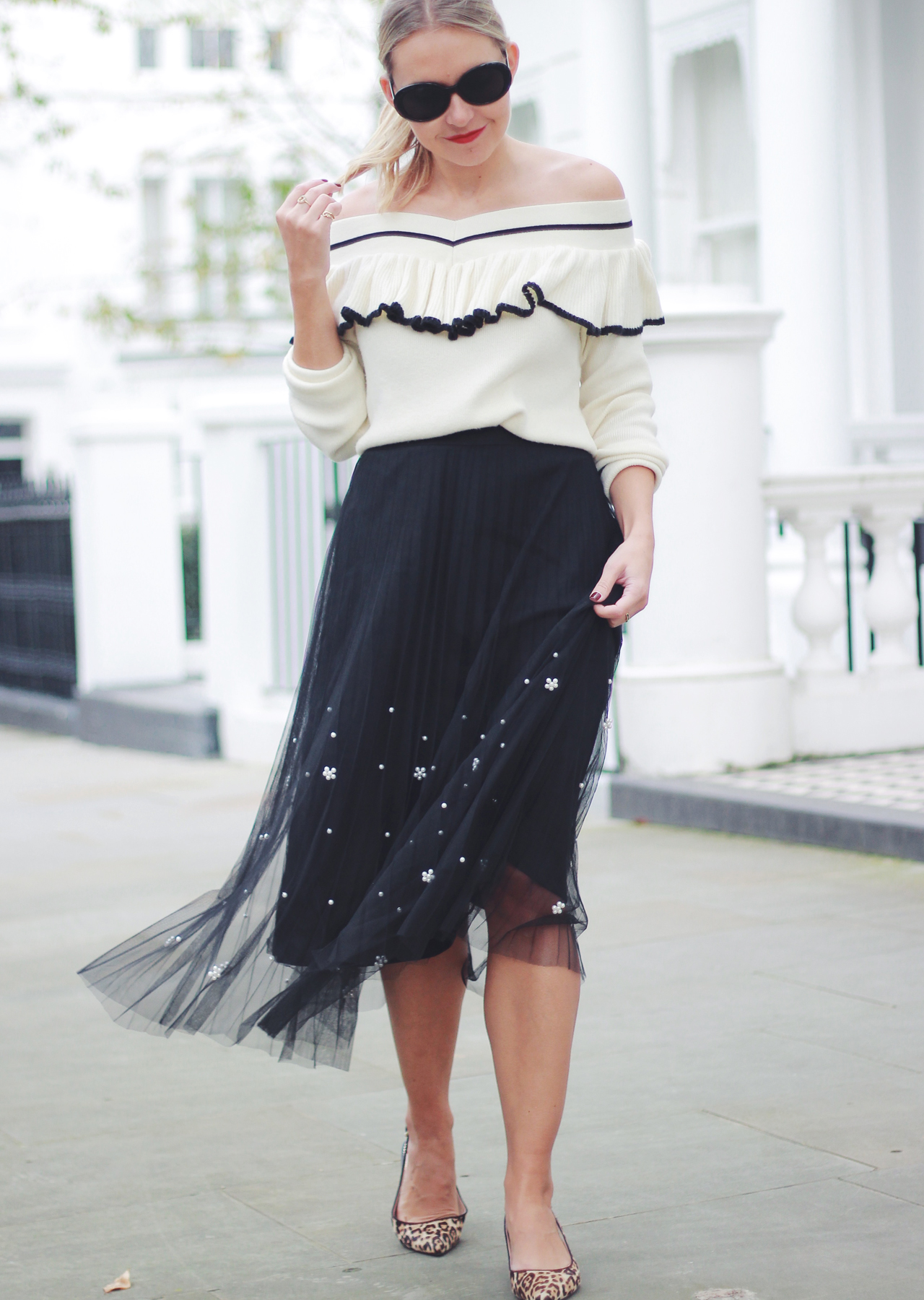 The Steele Maiden: Black and White Holiday Style - Anthropologie Pearl Tulle Skirt and Off the Shoulder Sweater