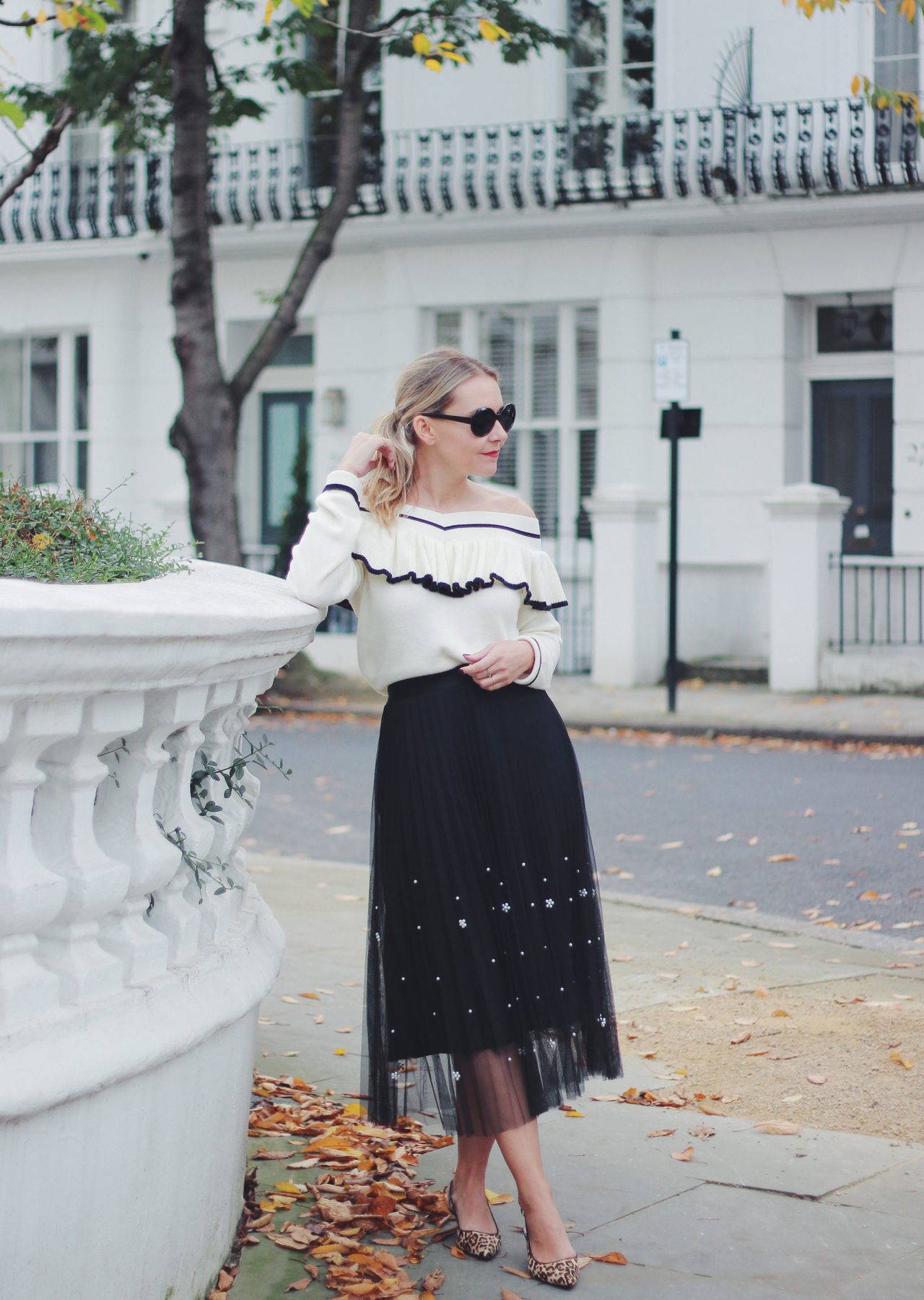 2ab1a50c6a ... The Steele Maiden: Black and White Holiday Style - Anthropologie Pearl  Tulle Skirt and Off