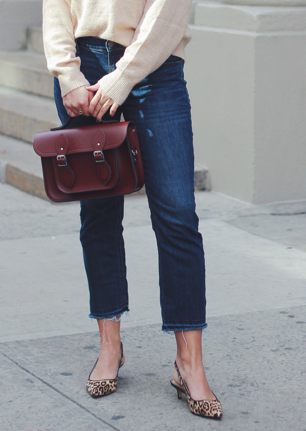 The Steele Maiden: Casual Thanksgiving Day Outfit - Glitter Sweater, Cropped Jeans and Kitten Heels