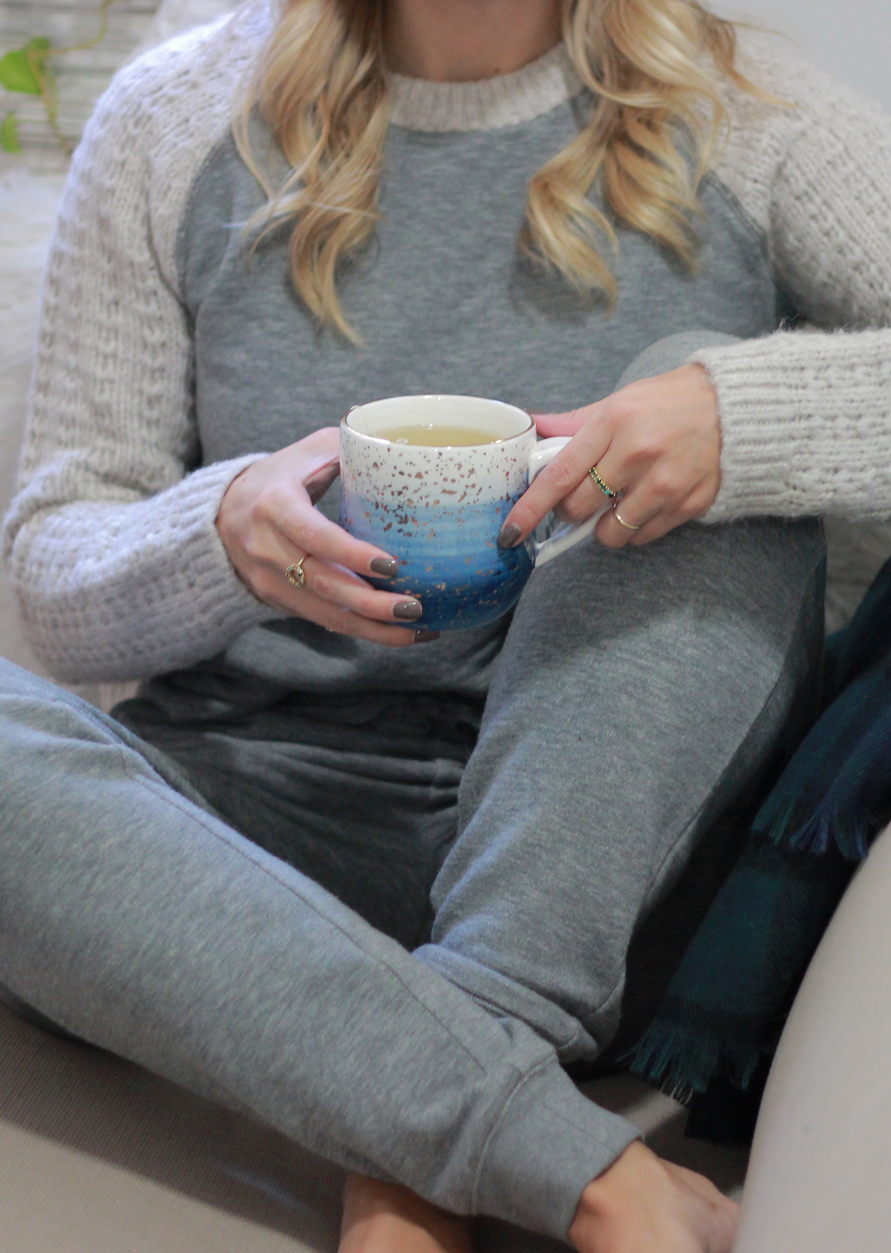 The Steele Maiden - Cozy Holiday Style - Lands' End sweats and Anthropologie Mug