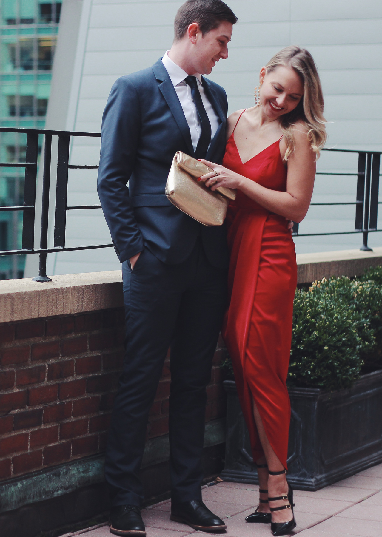 The Steele Maiden: His and Hers Special Occasion Holiday Style - Red Wrap dress and navy blue suit