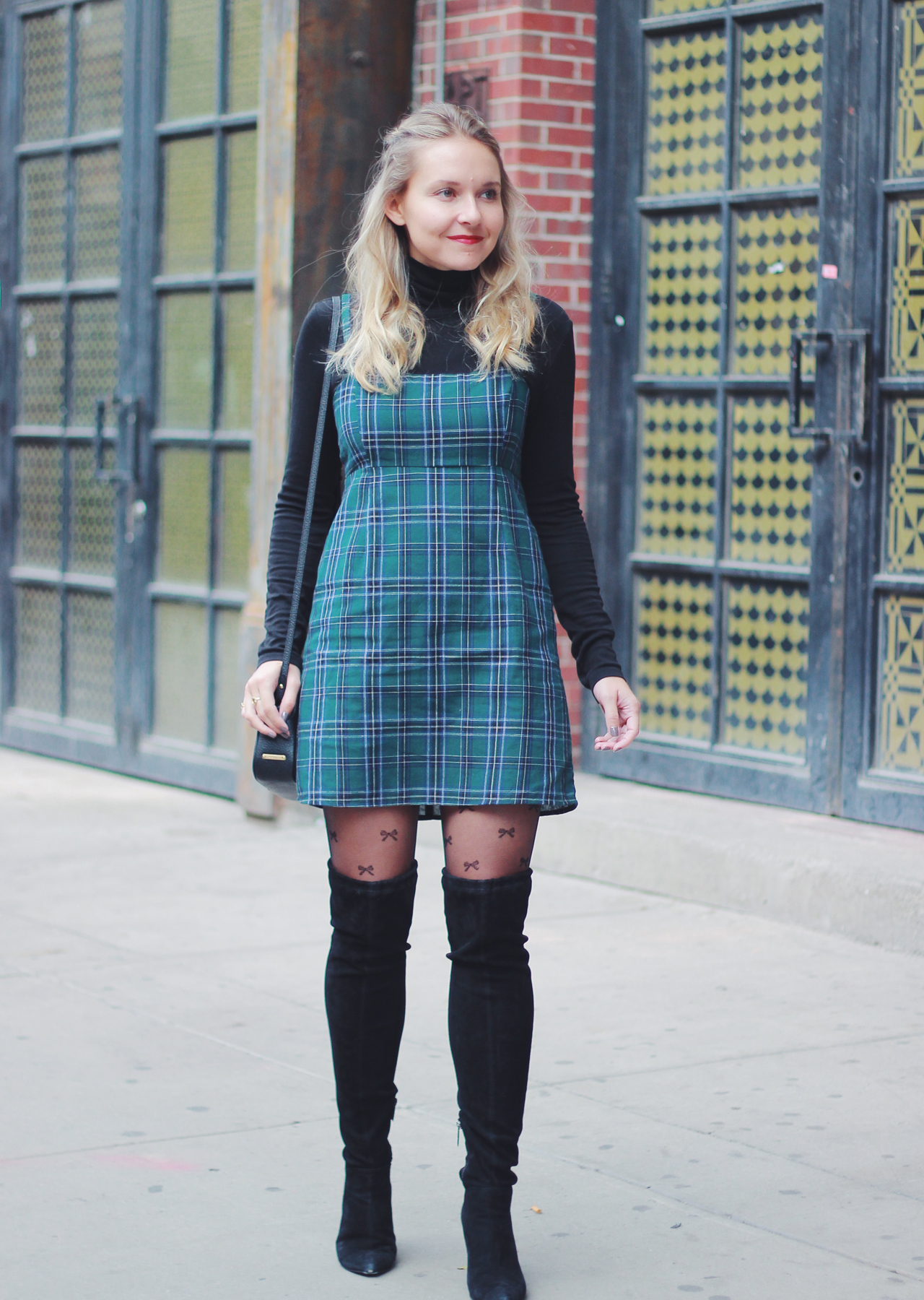 The Steele Maiden: Cute Holiday Style - Plaid Mini Dress, Bow Tights and OTK Boots