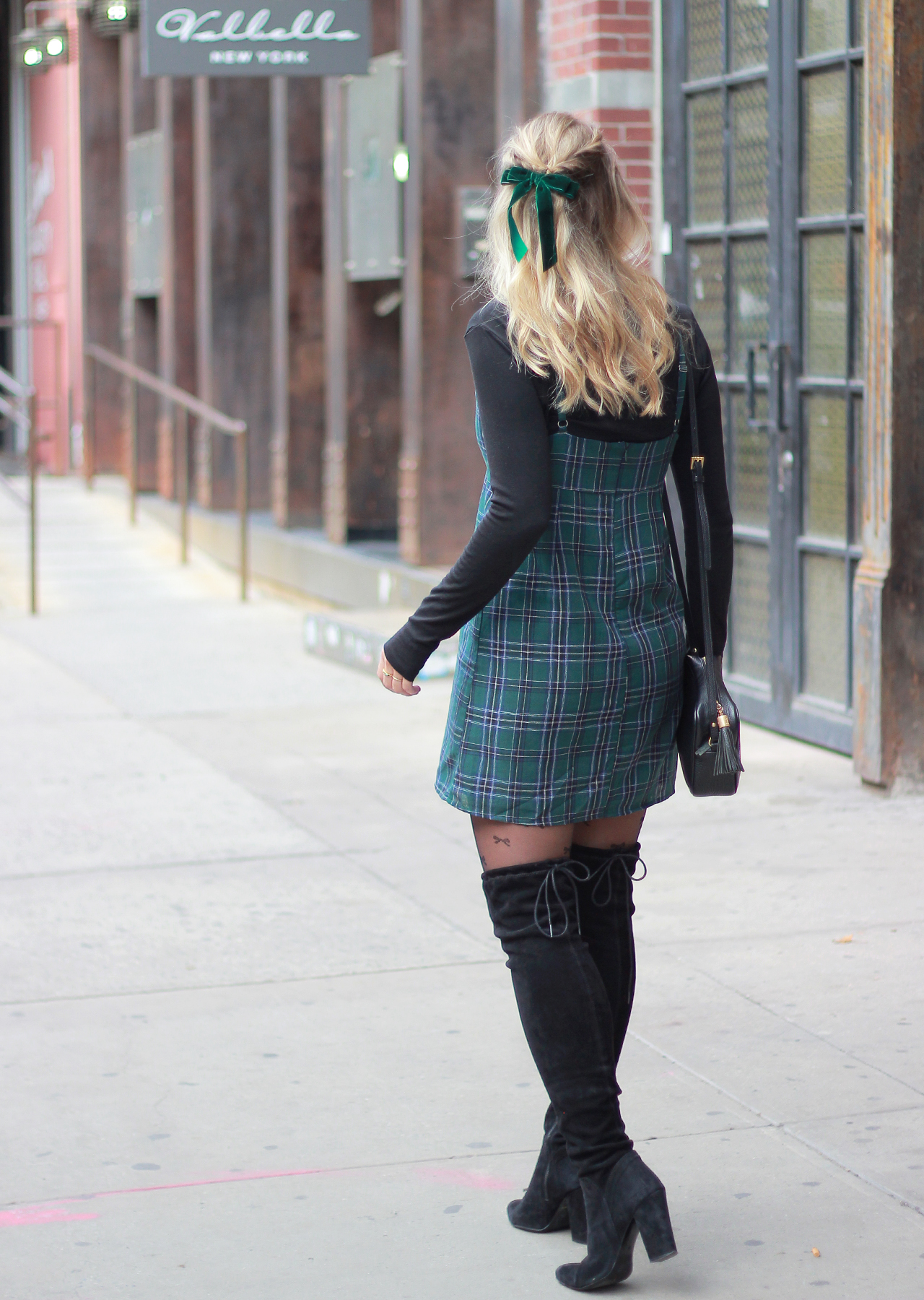 The Steele Maiden: Cute Holiday Style - Plaid Mini Dress, Bow Tights and OTK BootsThe Steele Maiden: Cute Holiday Style - Plaid Mini Dress, Bow Tights and OTK Boots