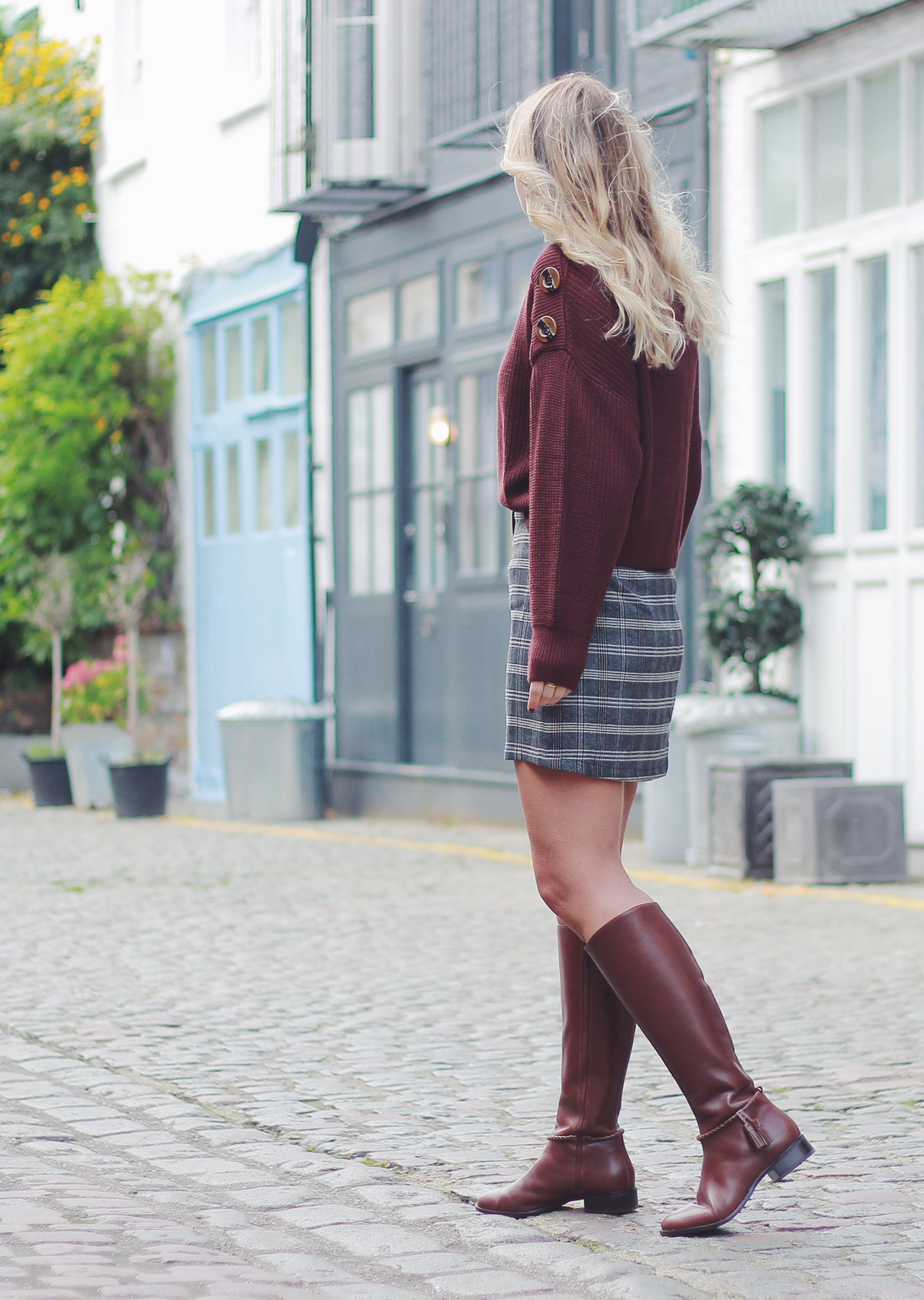 The Steele Maiden: Slouchy Button Shoulder Sweater and Plaid Mini Skirt