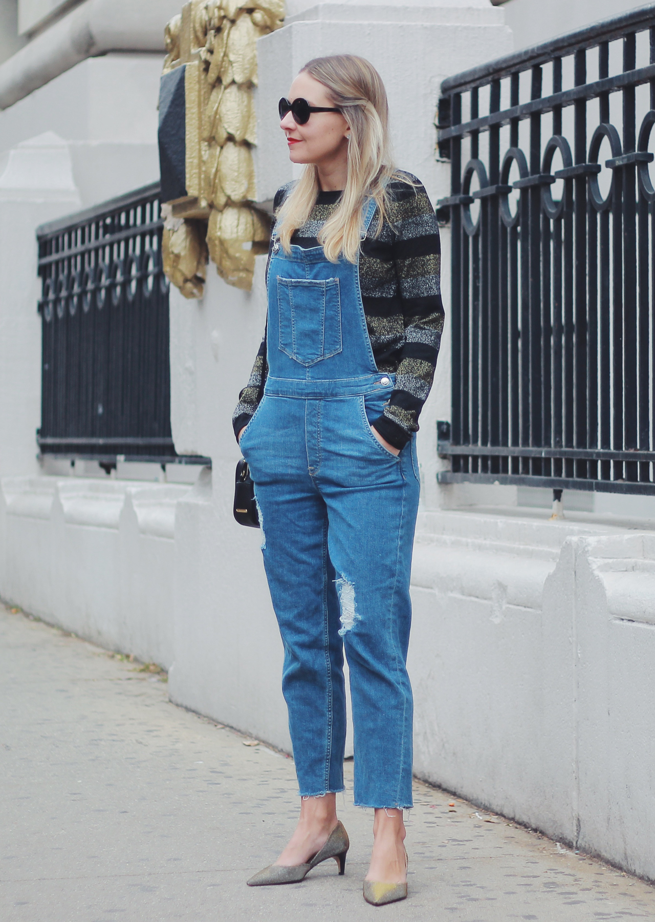 The Steele Maiden: Casual Holiday Outfit Ideas - overalls and metallic sweater
