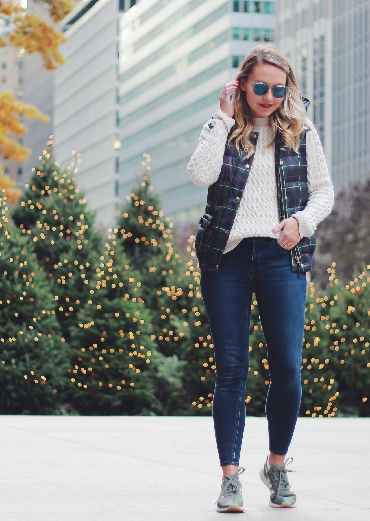 The Steele Maiden: Casual Holiday Outfit Ideas - plaid puffer vest and sneakers