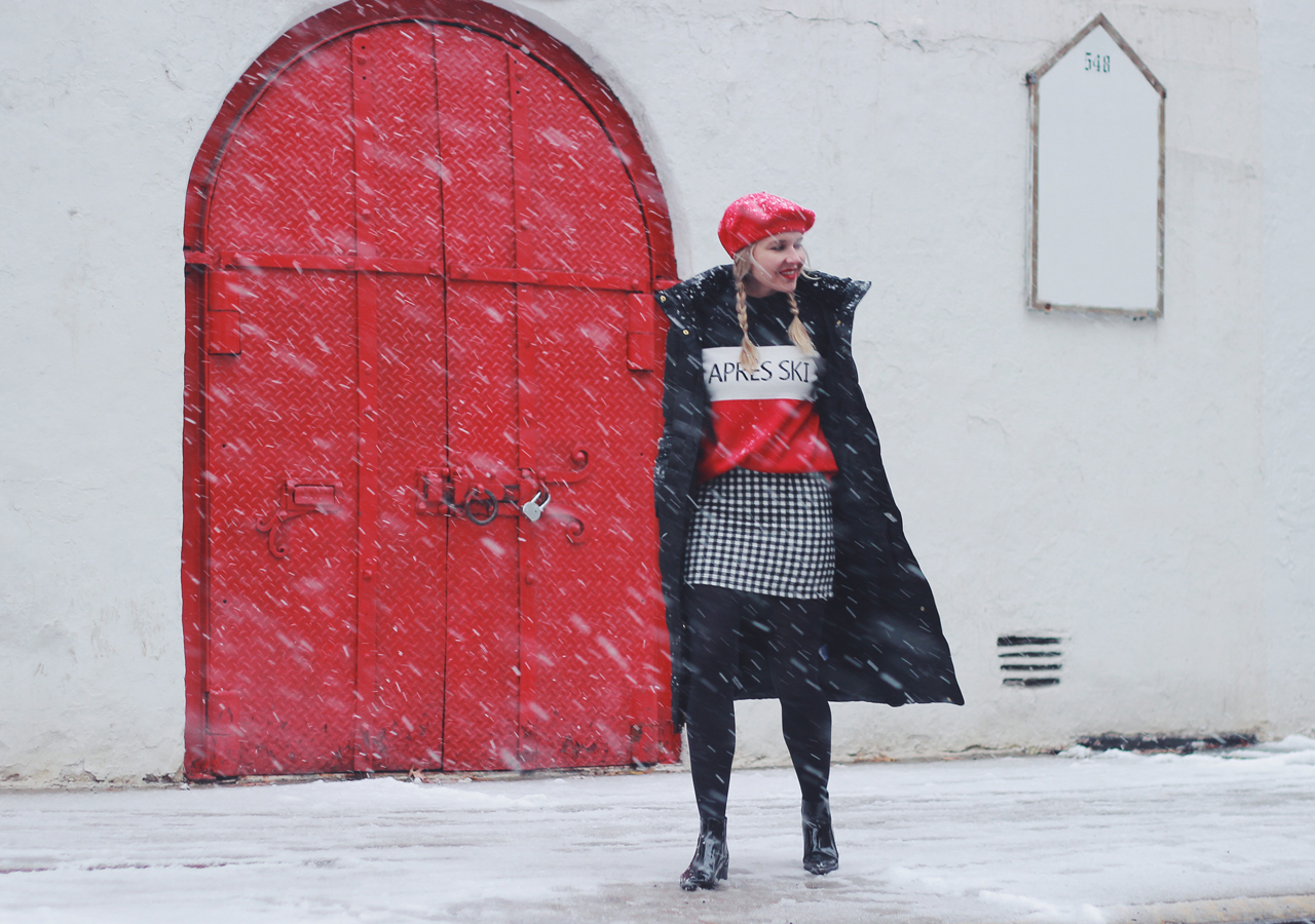 The Steele Maiden: Snow Day Style - Apres Ski Sweater, Red Beret and Plaid Skirt