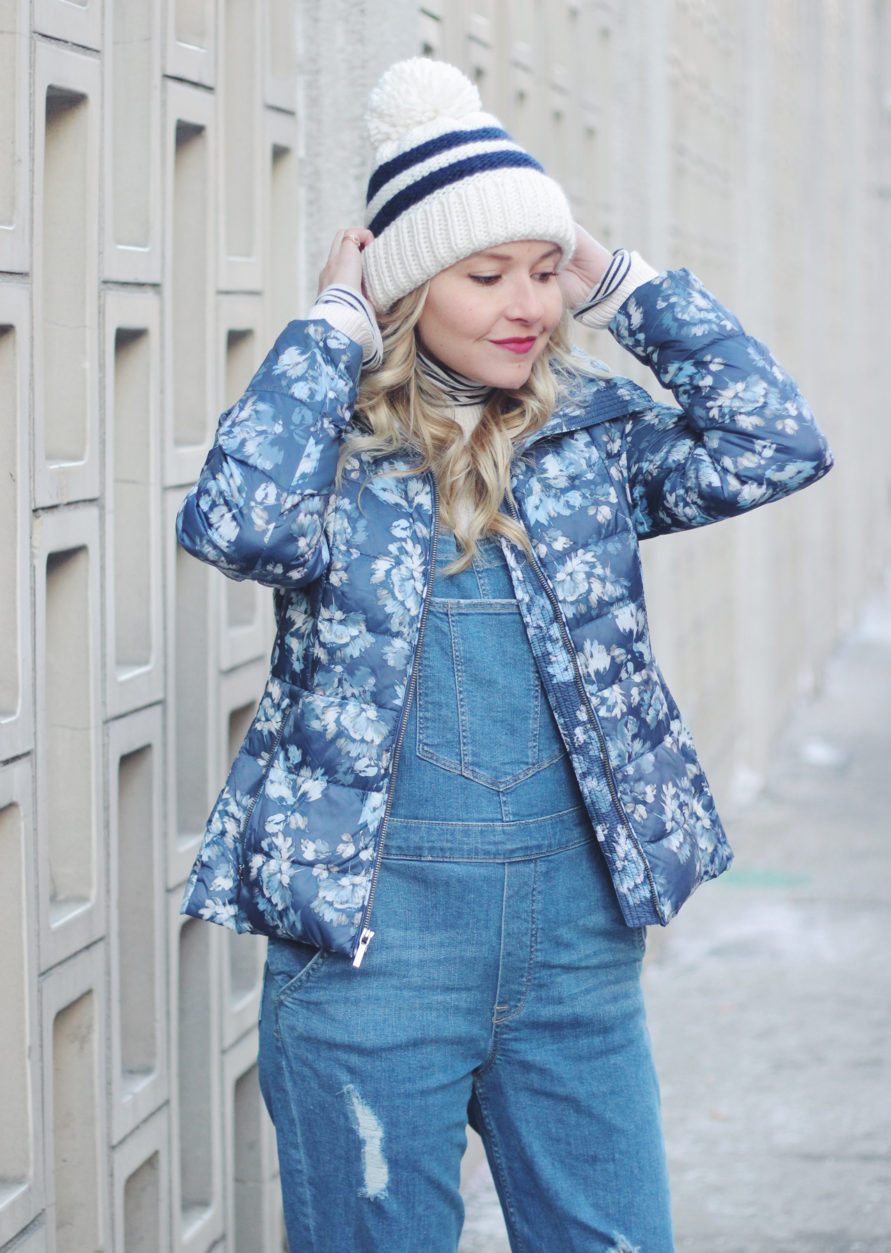 The Steele Maiden: Casual Winter Layers - Floral Puffer Jacket