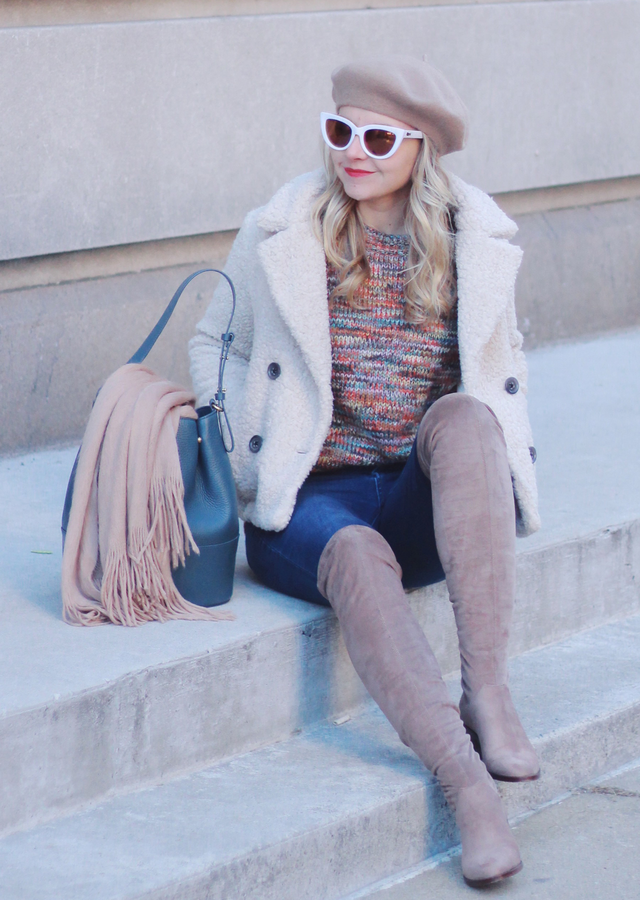 The Steele Maiden: Winter Style - Rainbow Knit Sweater and Suede Over the Knee Boots