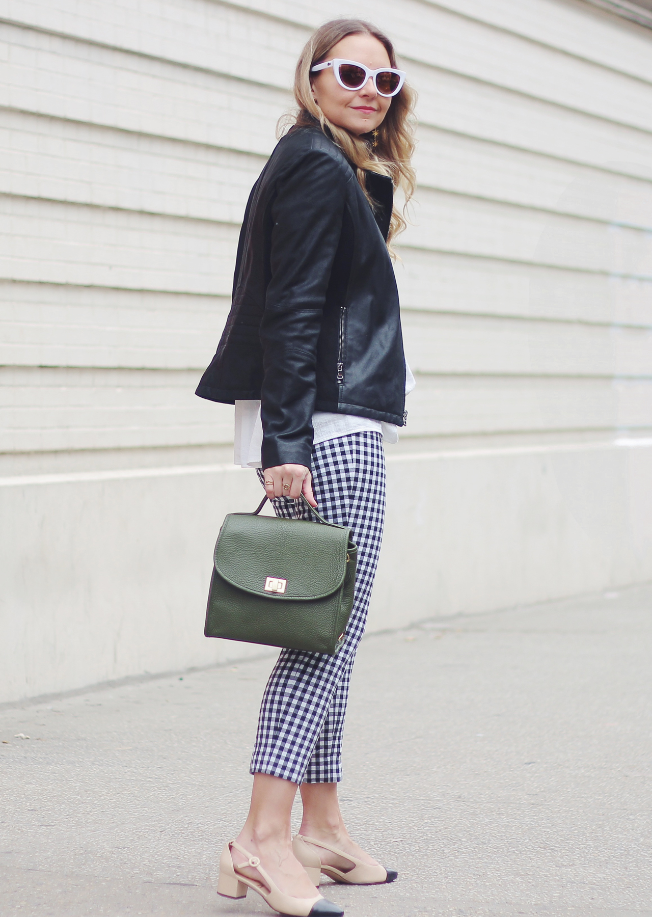 The Steele Maiden: Gingham Pants and Leather Jacket