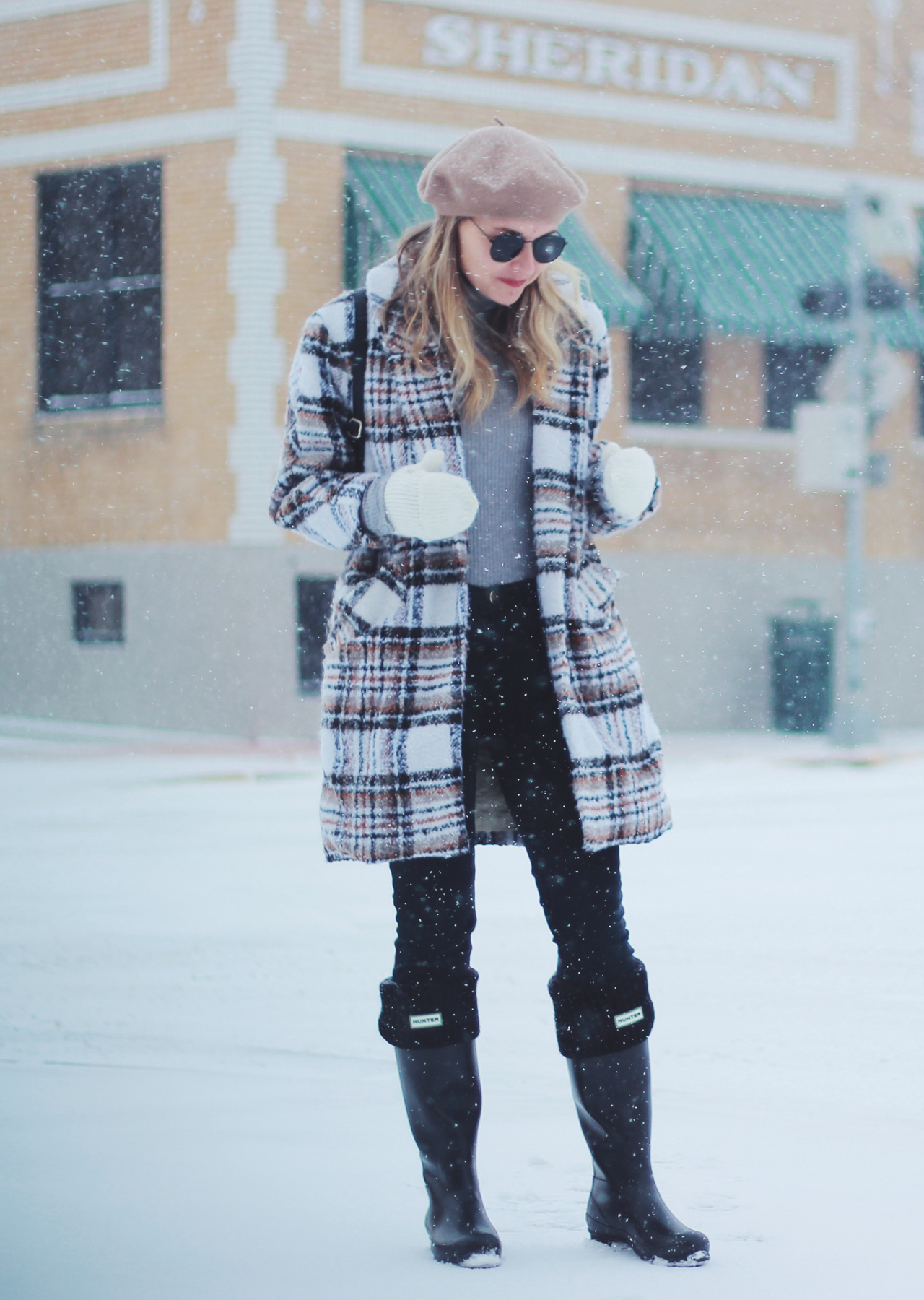 The Steele Maiden: Sheridan, Wyoming Snow Day - Plaid Coat, Beret and Hunter Boots