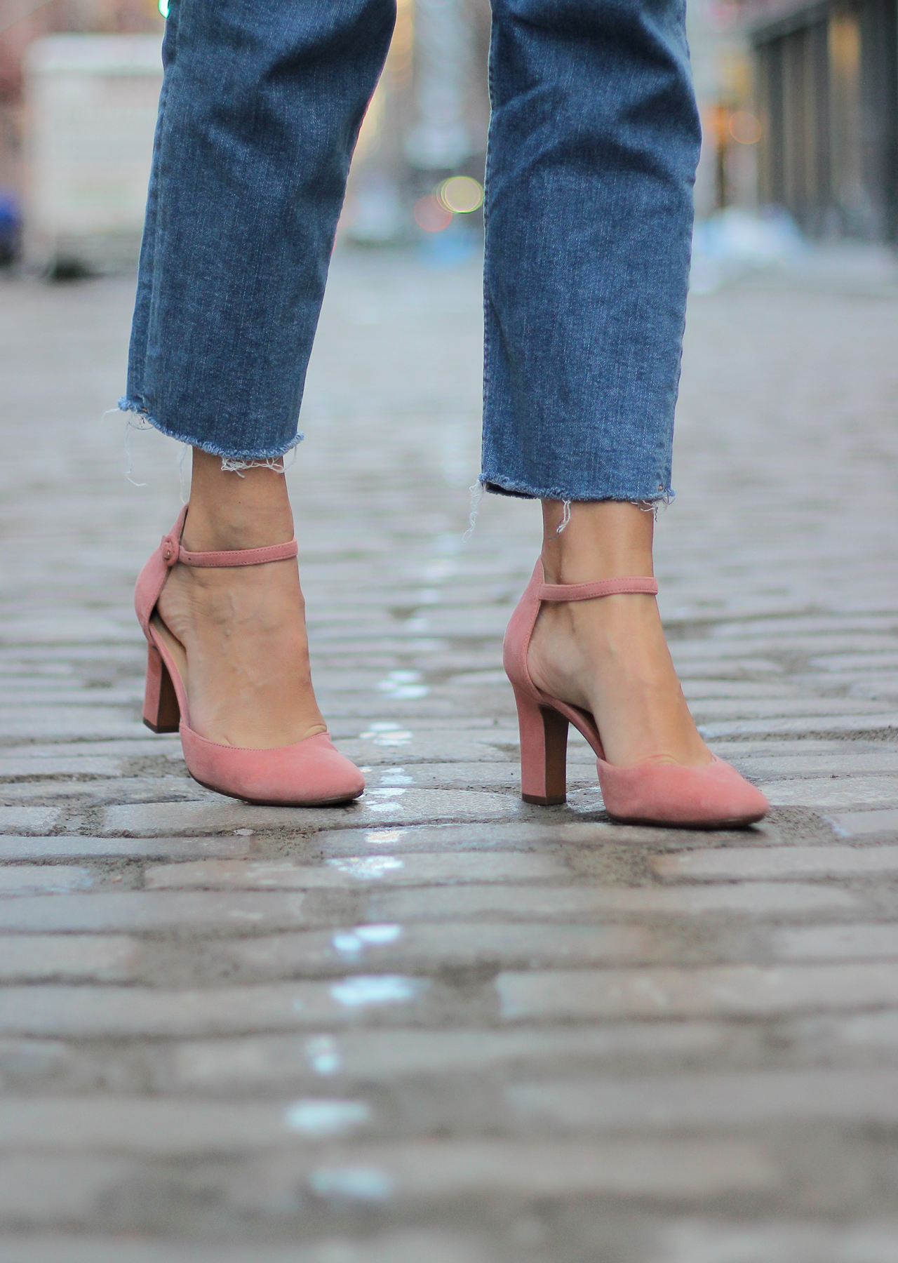 The Steele Maiden: Naturalizer Pink Suede Heels, Overalls and Eyelet Ruffle Blouse